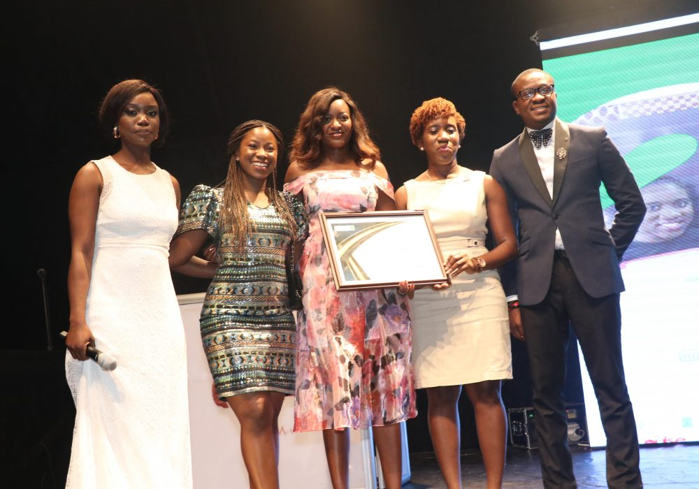 CEO Exclusive Brands Africa, Miss Orode Uduaghan and CEO Imperial Educational Services, Lanre Ogundipe presenting the award for the Cyber Security and Technology Category to AfroTech Girls.