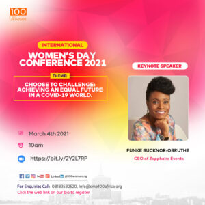 Meet The Key Speaker For The 100Women International Women Conference 2021 – Funke Bucknor-Obruthe